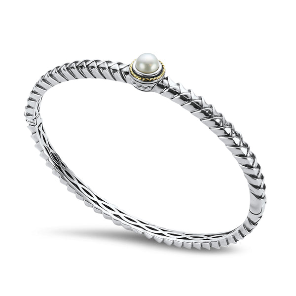 White Pearl Sterling Silver Bangle with 18K Gold Accents