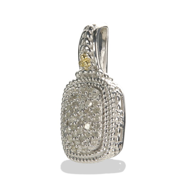 Diamond Sterling Silver Pendant with 18K Gold Accents