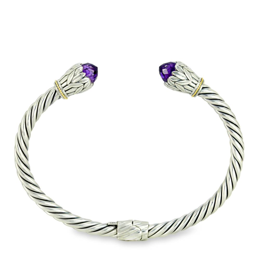 Amethyst Twisted Cable Sterling Silver Bangle with 18K Gold Accents