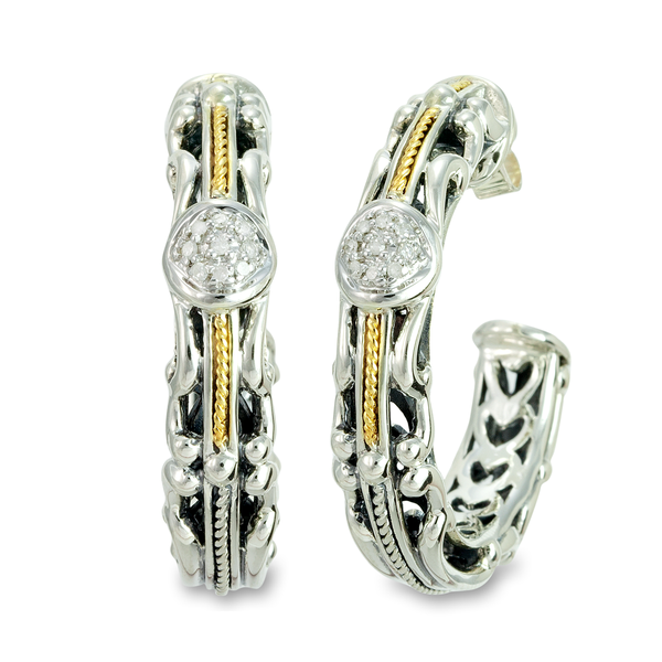 Diamond Sterling Silver Hoop Earrings with 18K Gold Accents