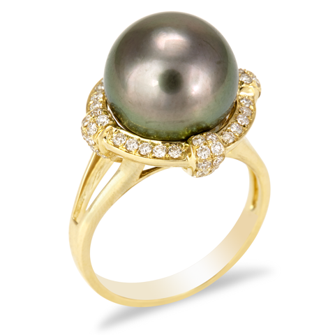 "14K Yellow Gold Diamond and Black Pearl Ring ""Ina"""