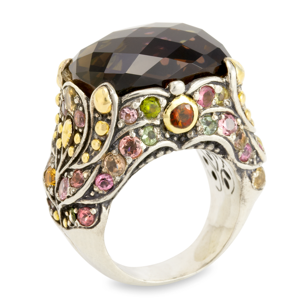 Smokey Quartz and Multi Gemstone Sterling Silver Ring with 18K Gold Accents