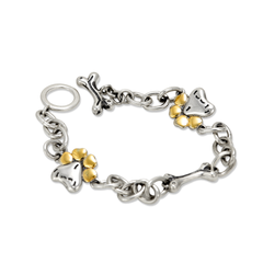 Sterling Silver Bracelet with 14K Gold Accents