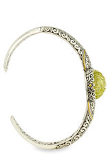 Carved Lemon Quartz Sterling Silver Bangle with 18K Gold Accents