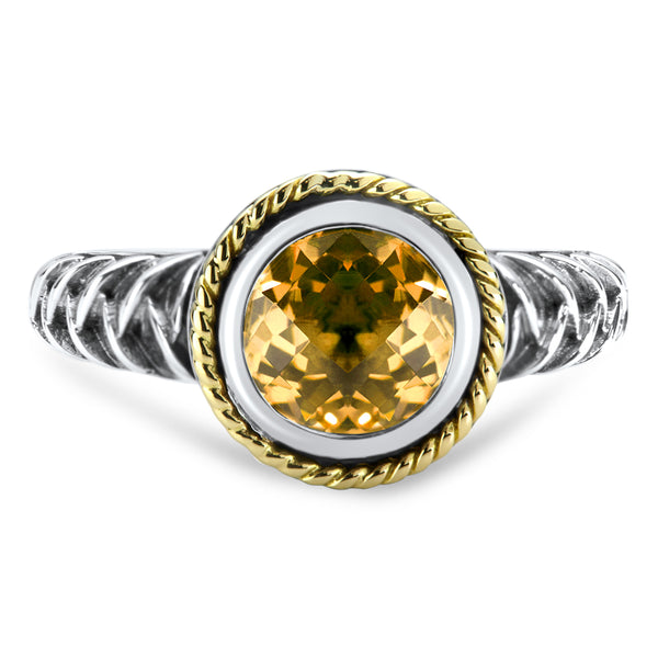 Citrine Sterling Silver Ring with 18K Gold Accents