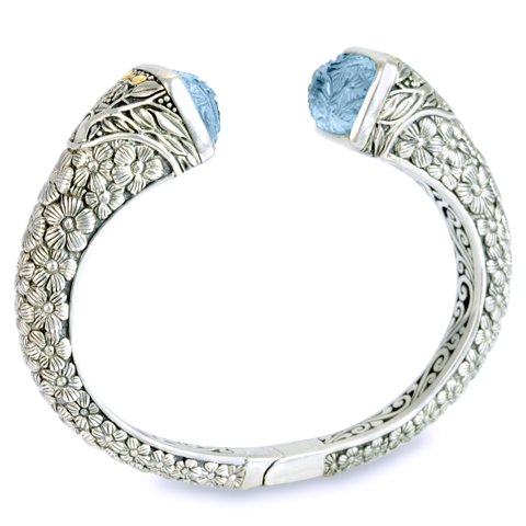 "Carved Blue Topaz Sterling Silver Bangle with 18K Gold Accents ""Michelle"""