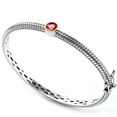 Garnet Bangle Set in Sterling Silver & 18K Gold Accents