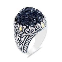 Carved Black Onyx Ring Set in Sterling Silver & 18K Gold Accents