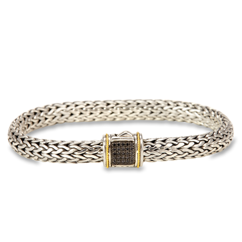 Black Diamond Sterling Silver Woven Bracelet with 18K Gold Accents