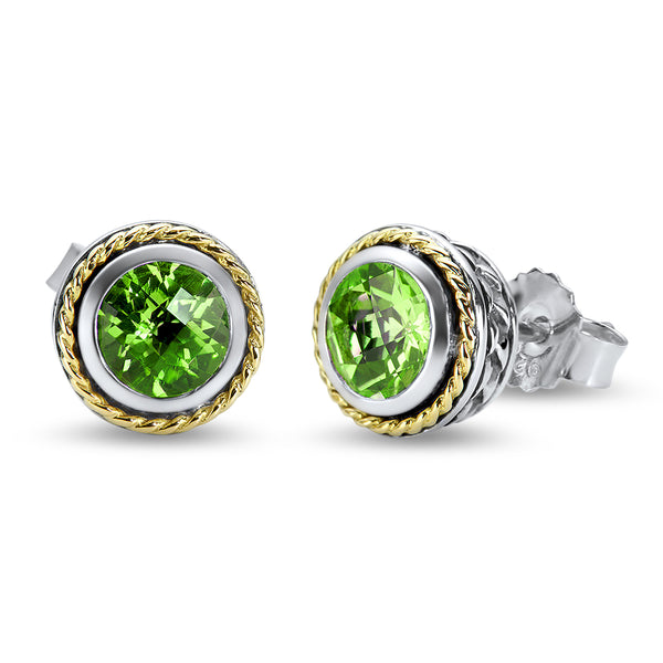 Peridot Sterling Silver Earrings with 18K Gold Accents