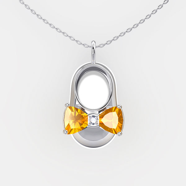 14K White Gold Diamond and Citrine Baby Shoe Pendant