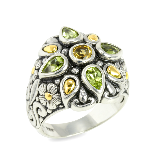 Citrine and Peridot Sterling Silver Ring with 18K Gold Accents
