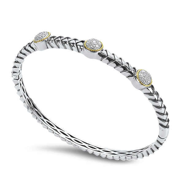 Three Diamond Station Diamond Sterling Silver Bangle with 18K Gold Accents