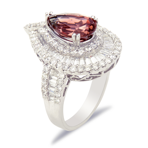 18K White Gold Diamond and Pink Tourmaline Ring