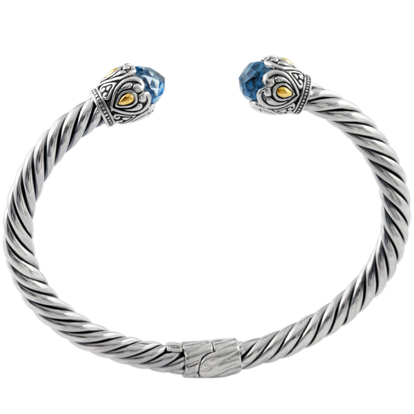 Blue Topaz Sterling Silver Twisted Cable Bangle with 18K Gold Accents