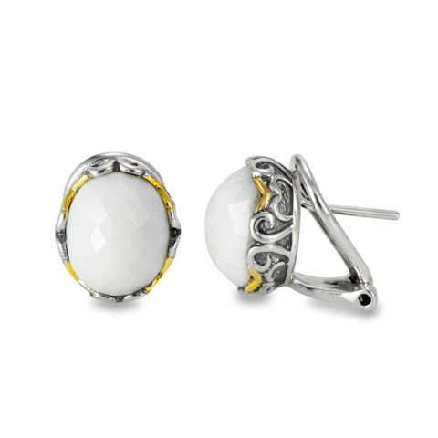White Agate Sterling Silver Earrings with 14K Gold Accents