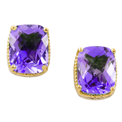 Amethyst Earrings Set in Silver & Yellow Gold Accents