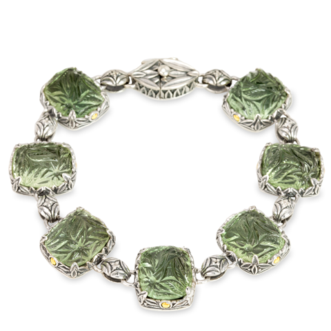 "Carved Green Amethyst Sterling Silver Bracelet with 18K Gold Accents ""Serina"""