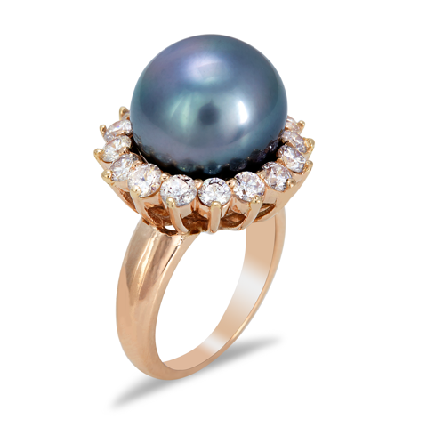 14K Rose Gold Diamond and Tahitian Pearl Ring