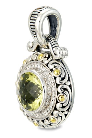 Lemon Quartz Sterling Silver Pendant with Diamond and 18K Gold Accents