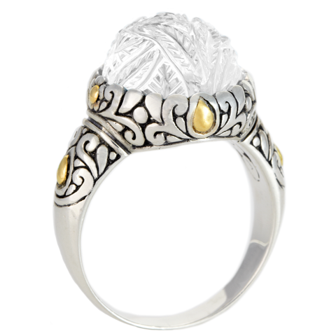 "Carved White Agate Ring Set in Silver with 18K Gold Accents ""Darlene"""