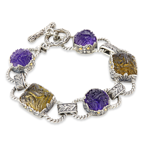 Carved Amethyst and Citrine Sterling Silver Bracelet with 18K Gold Accents