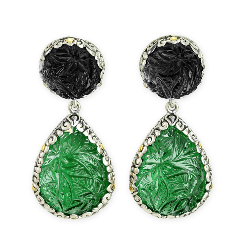 "Carved Black Onyx and Green Onyx Sterling Silver Earrings with 18K Gold Accents ""Debbie"""