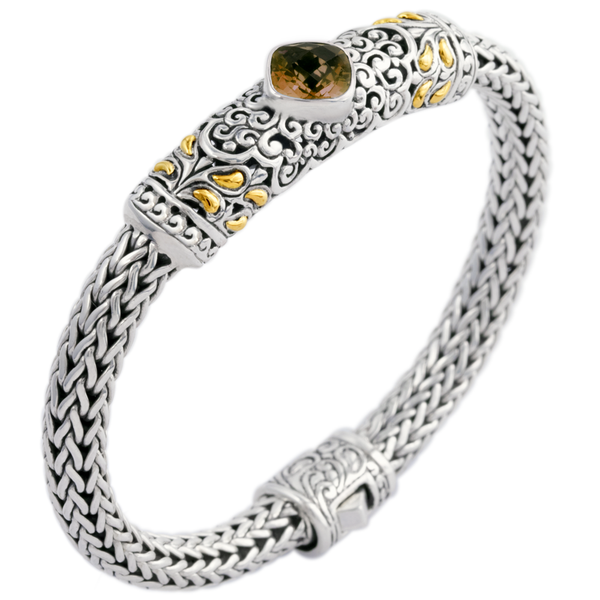 Smokey Quartz Woven Sterling Silver Bracelet with 18K Gold Accents