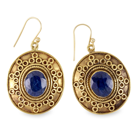 Blue Sapphire Earrings Set in Gold Plated Silver