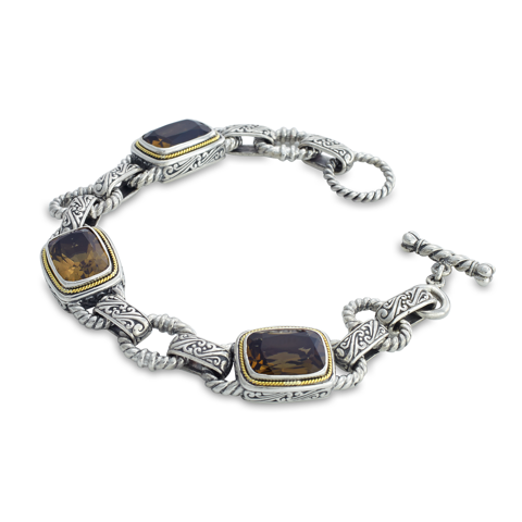 Smokey Quartz Sterling Silver Bracelet with 18K Gold Accents