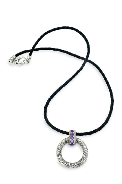 Amethyst Sterling Silver and Leather Necklace with 18K Gold Accents