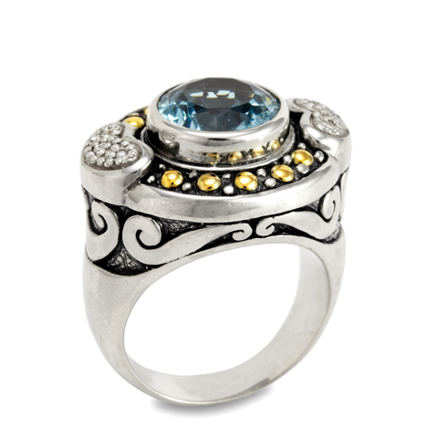 Diamond and Blue Topaz Sterling Silver Ring with 18K Gold Accents