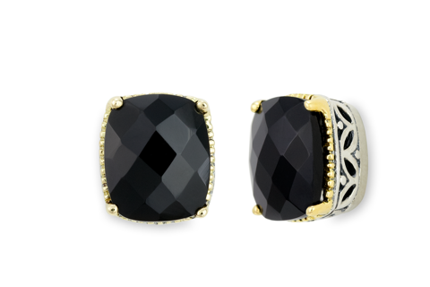 Black Onyx Sterling Silver Earrings with 18K Gold Accents