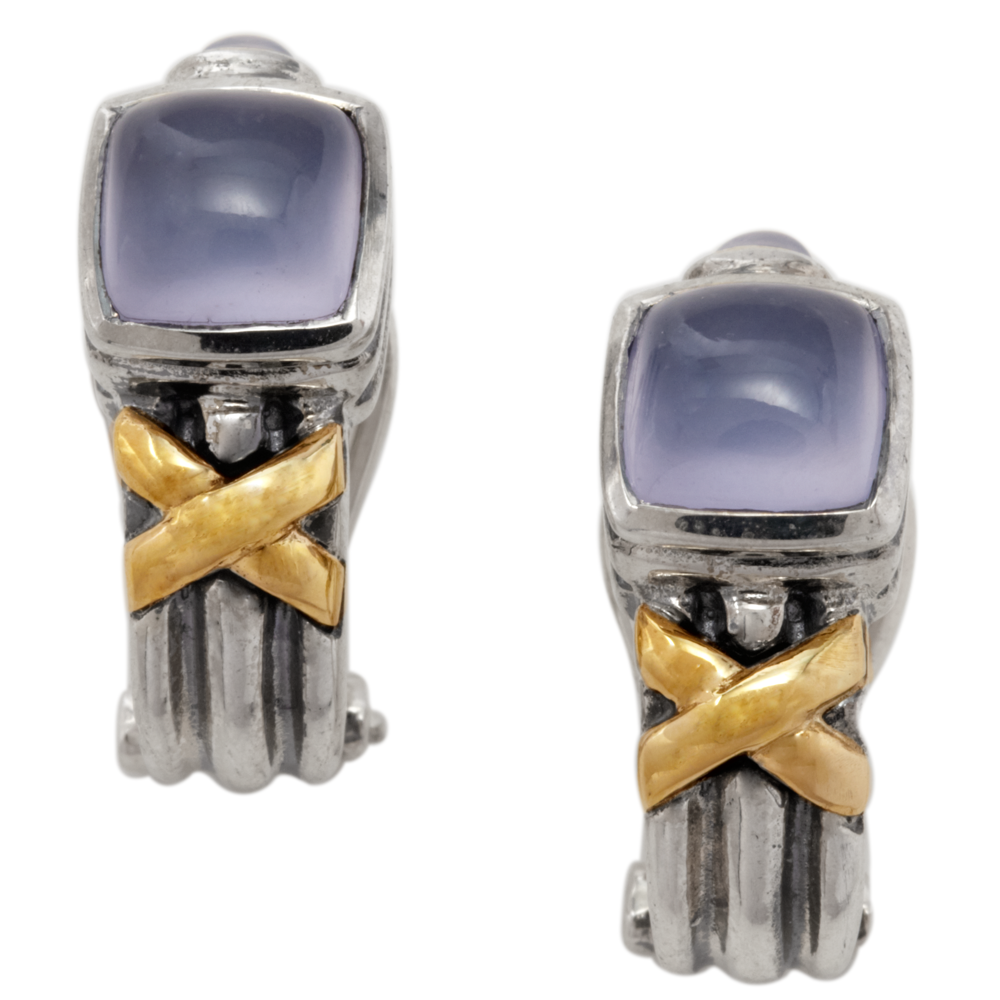 Chalcedony Sterling Silver Earrings with 18K Gold Accents