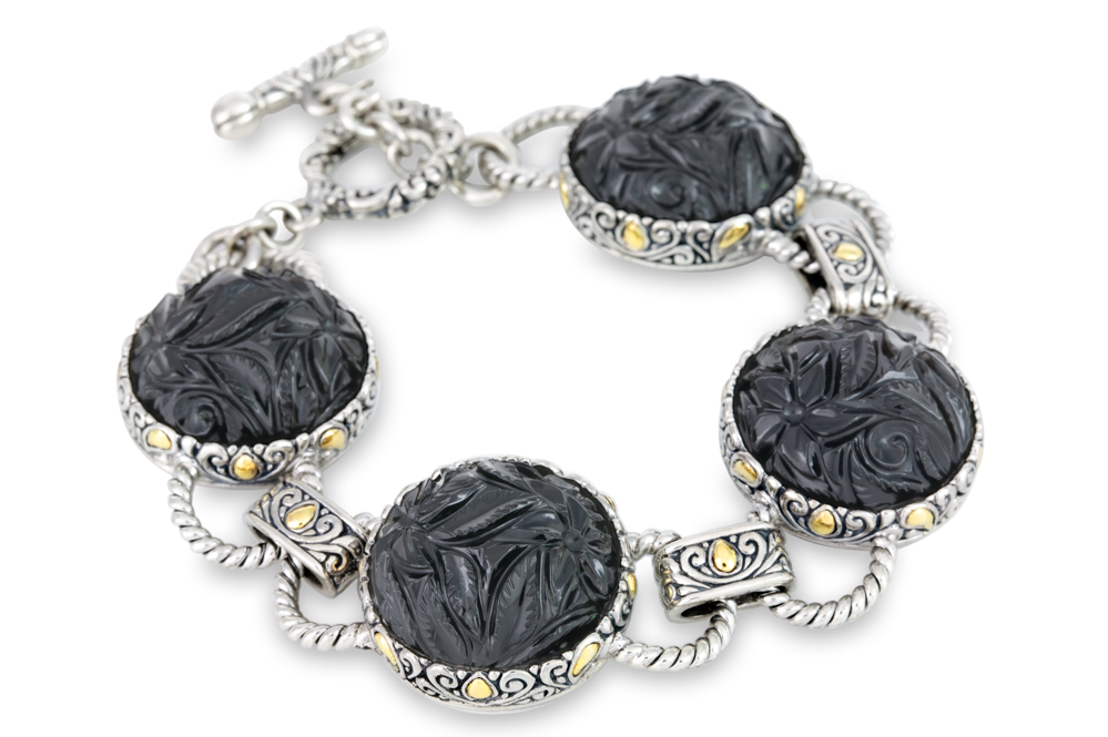 Carved Black Onyx Sterling Silver Bracelet with 18K Gold Accents