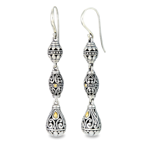 Sterling Silver Drop Earrings with 18K Gold Accents