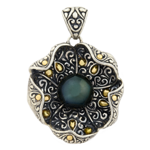 Black Tahitian Pearl Sterling Silver Pendant with 18K Gold Accents
