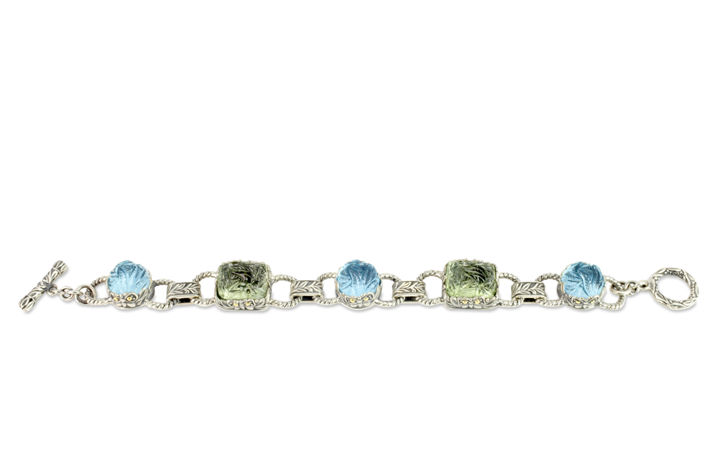Carved Blue Topaz and Green Amethyst Bracelet set in Sterling Silver & 18K Gold Accents