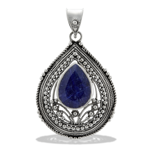Blue Sapphire Sterling Silver Pendant