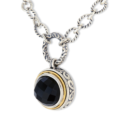 Black Onyx Sterling Silver Necklace with 18K Gold Accents