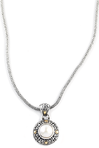Mabe Pearl Sterling Silver Necklace with 18K Gold Accents