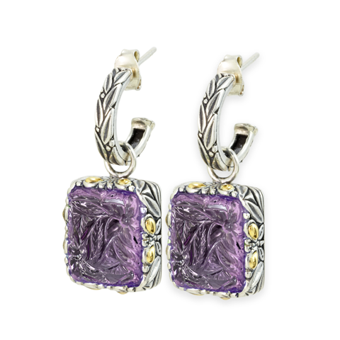 "Carved Amethyst Sterling Silver Earrings with 18K Gold Accents ""Gwen"""
