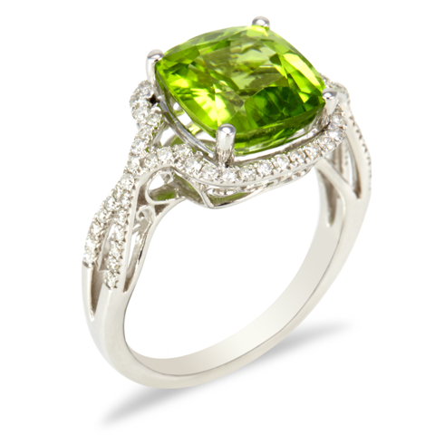 "14K White Gold Diamond and Peridot Ring ""Nadia"""