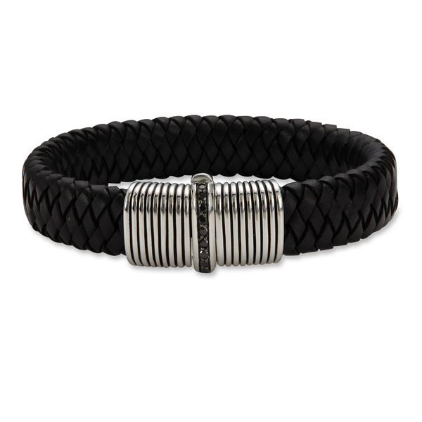 Black Onyx Sterling Silver Black Leather Woven Bracelet