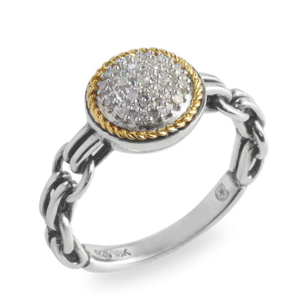 Diamond Ring Set in Sterling Silver & 18K Gold Accents