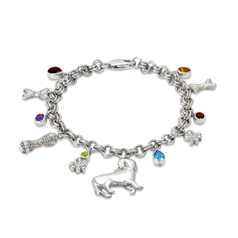 Multi Gemstone Sterling Silver Doggy Charm Bracelet