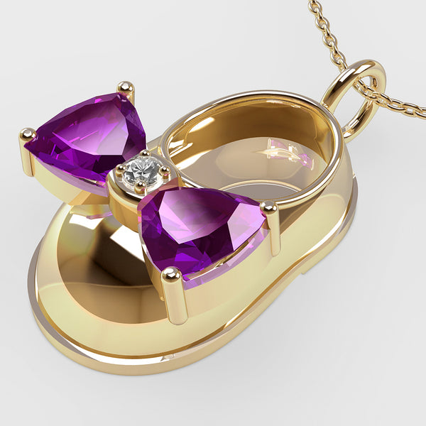 14K Yellow Gold Diamond and Amethyst Baby Shoe Pendant