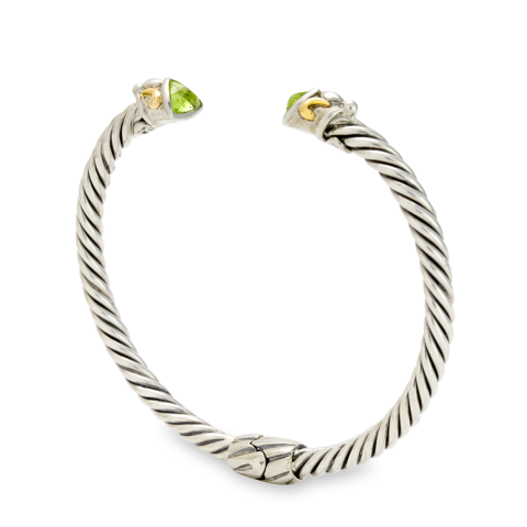 Peridot Sterling Silver Twisted Cable Bangle with 18K Gold Accents