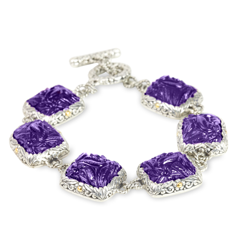 Carved Amethyst Sterling Silver Bracelet with 18K Gold Accents
