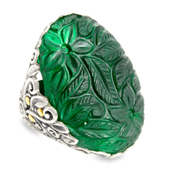 Carved Evergreen Hydra Quartz Sterling Silver Ring with 18K Gold Accents